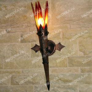 кованый светильник факел