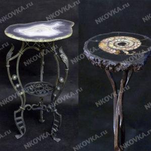 кованые столики с камнем